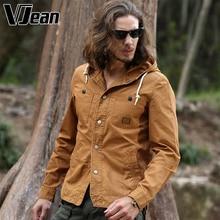 V JEAN  Men's Casual Hooded Shirt Jacket Washed    5B150