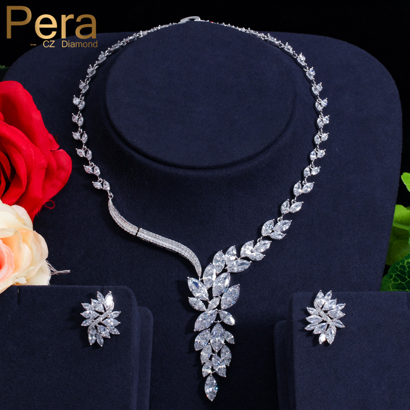 Pera Elegant Women Engagement Wedding Party Jewelry Big Marquise Shape Cubic Zirconia Drop Necklace Earrings Set