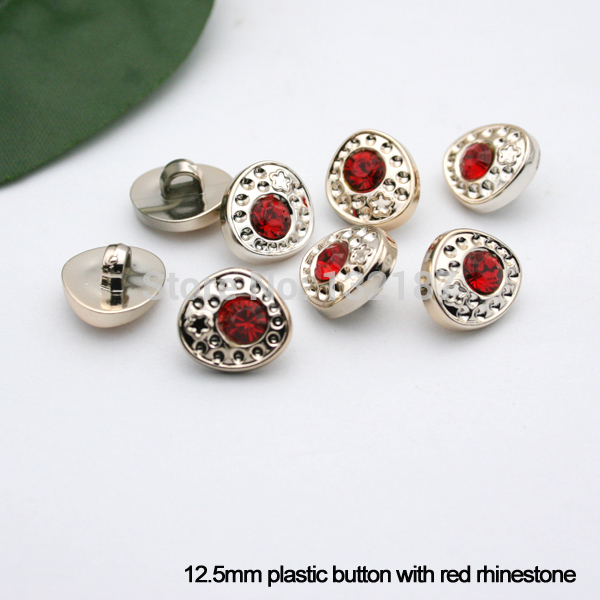 300pcs/lot 12.5mm plastic sewing button gold with red rhinestone dress coat buttons free shipping BT069