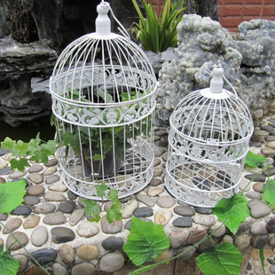 Fashion iron wrought iron birdcage white small bird cage decoration hanging bird cage