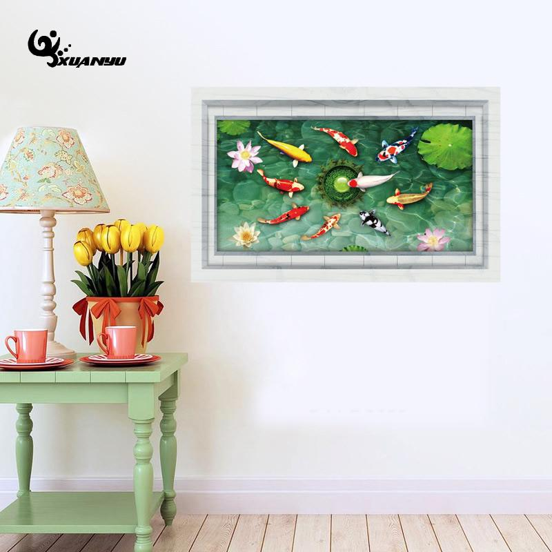 Waterproof Carp Pond Wall Stikcer PVC Fish Sticker Living Room Wall Floor Decoration Home Decal