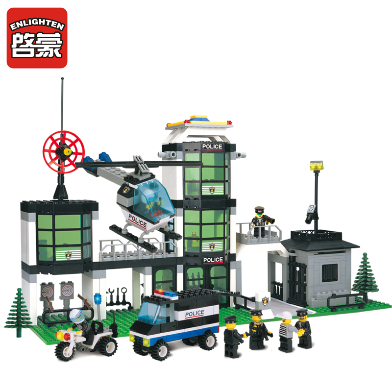 ENLIGHTEN 110 City Police Station Motorcycle Helicopter Model Building Blocks Classic Brinquedos Bricks Toys For Children 466Pcs bohs building blocks city police station coastal guard swat truck motorcycle learning