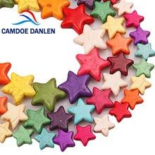 Karışık renk Pentagram yıldız şekilli Turquoises taş halka boncuk bilezik kolye yapımı için 12*12 15*15 20*20mm