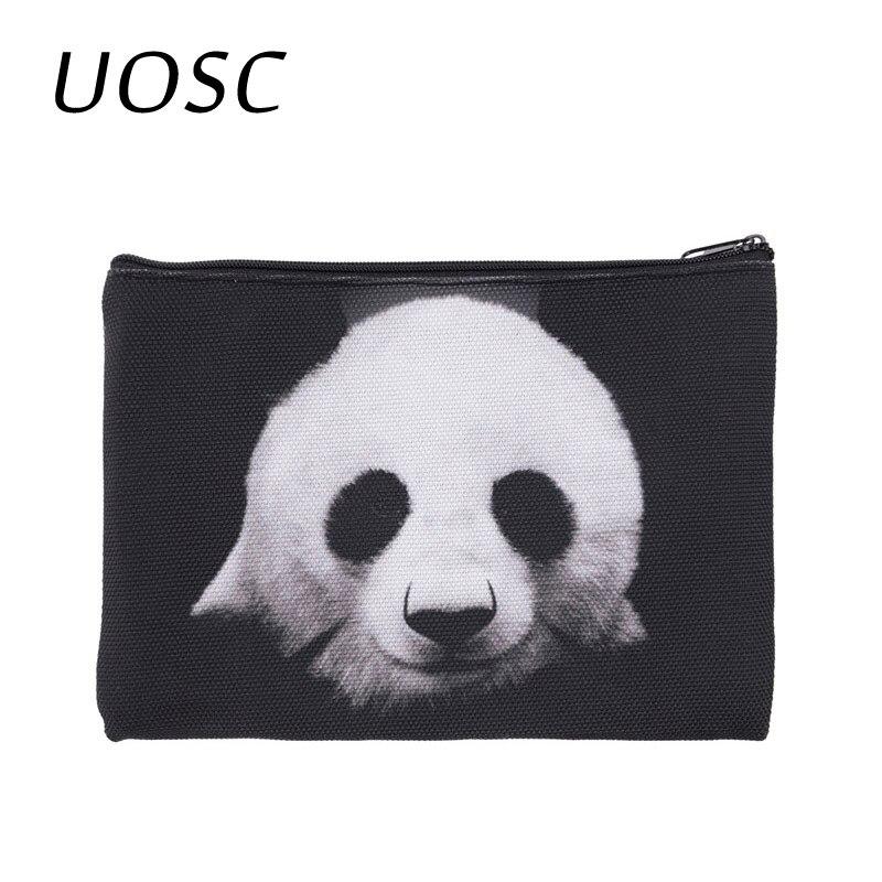 UOSC 2018 Hot Sale Travelling Makeup Bag 3D Printing Cute Animal Black Panda Zipper Square Cosmetic Bags Women