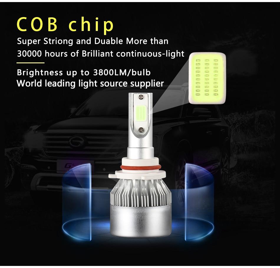 2x H7 LED H11 H4 Hi/Lo H1 H3 H8 HB1 HB3 HB4 HB5 PSX24W HIR2 H13 H16 H27 Car Headlight Bulbs 3000K 4300K 6000K 8000K COB C6