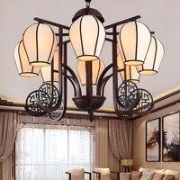 Китайский ветер 6/8 heads подвесной светильник Гостиная виллы антикварной железной классическая ретро украшения домашнего освещения лампы za894