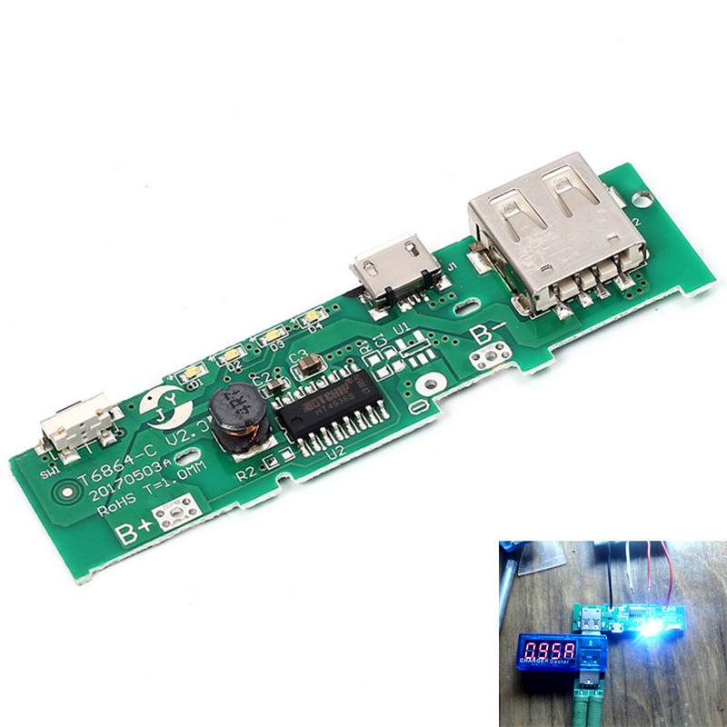 5V 1A Power Bank <font><b>Charger</b></font> Board Charging Circuit PCB Board Power Supply Step Up Boost Module Mobile <font><b>Phone</b></font> For <font><b>18650</b></font> Battery DIY