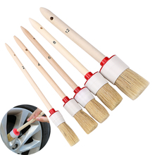 Car Brush Soft Bristle Wood Handle Auto Care for Interior Dashboard Rims Wheel Air-Conditioning Engine Wash Detailing