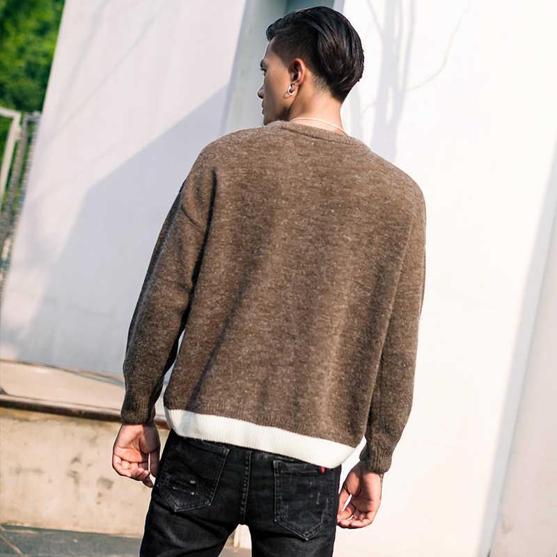 2018 осень-зима Для мужчин свитер с длинным рукавом Свободный пуловер вязаный пальто мужской свитер с круглым вырезом куртка хип-хоп Японии Стиль Костюмы
