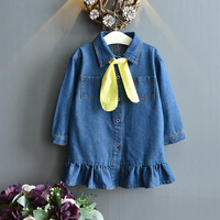 Toddler Kids Dresses with Tie For Girls Denim Ruched Long Sleeve T Shirt Tops Spring Clothing Vestidos De Fiesta 2019 New HOT