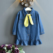 Toddler Kids Dresses with Tie For Girls Denim Ruched Long Sleeve T-Shirt Tops Spring Clothing Vestidos De Fiesta 2019 New HOT(China)
