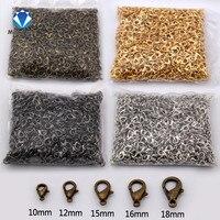 MINGXUAN 100 pcs/lot Schmuck Erkenntnisse Legierung antike bronze/gold/Rhodium karabiner Haken für halskette & armband kette 10-18mm