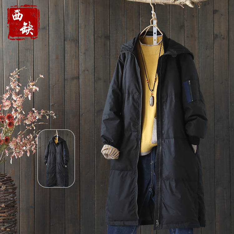 2017 new cotton and linen All-match  autumn and winter turn down collar balck color women cotton-padded jacket outerwea new elastic cotton and linen male