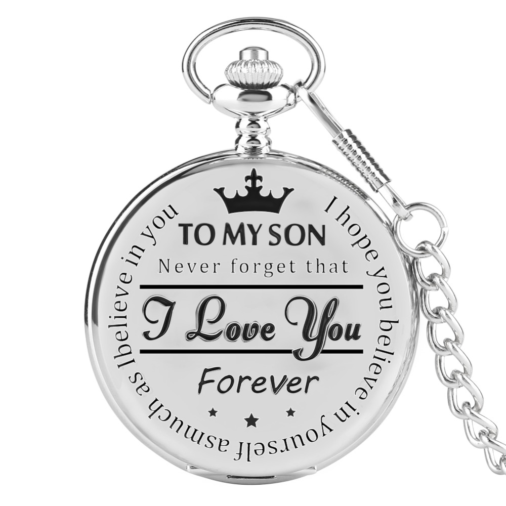 'To MY SON' Laser Words Silver Quartz Pocket Watch Men Roman Number Watches Unique Man Clock Chain Boy Birthday Christmas Gifts