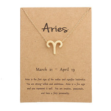 Fashion 12 Constellation Pendant Necklaces Virgo Necklace Birthday Gifts Message Card for Women Girl Jewelry