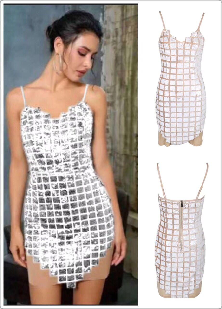 2018 silver beige sexy dress Sequined Vestido Elegant Women V-Neck Sleeveless Bandage Celebrity Party fashion dress wholesale