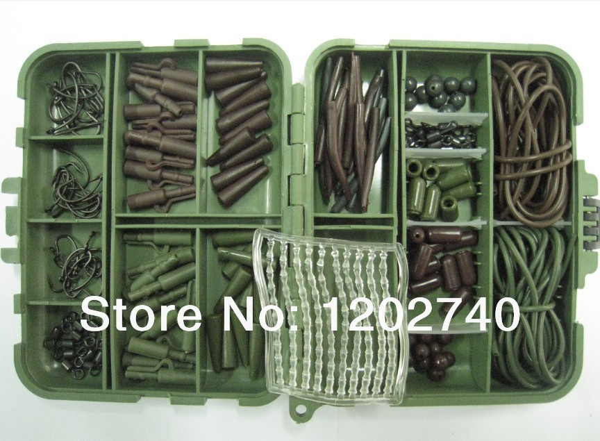 Carp Tackle Box Loaded With 262 Teflon Carp Hooks, Safety Lead Clips, Rig Tubes, Beads, Swivels, Anti Tangle Sleeves,boilie Stop