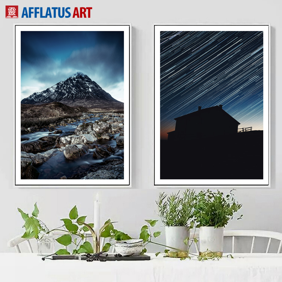 AFFLATUS Wall Art Posters And Prints Canvas Painting Meteor Shower Landscape Canvas Prints Wall Pictures For Living Room Decor
