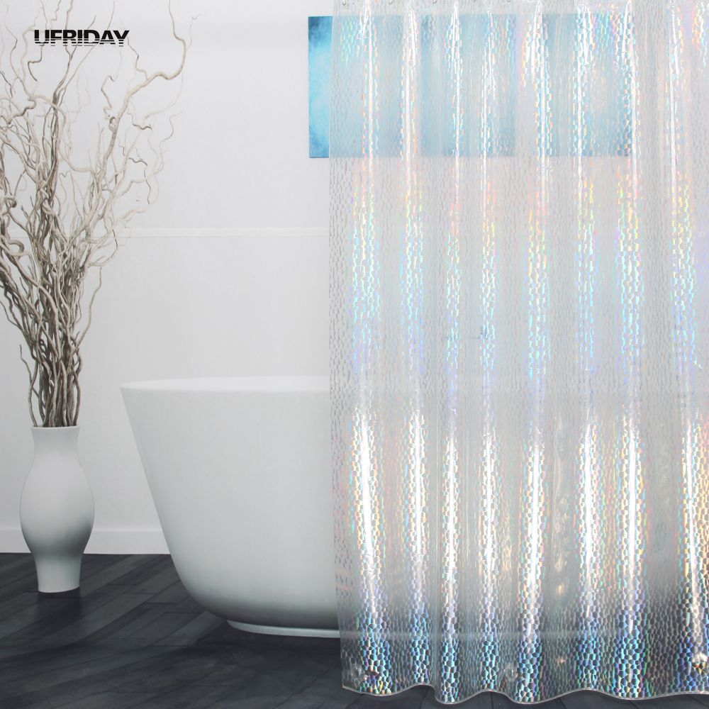 UFRIDAY 3D Colorful Effect Water Cube Shower Curtain Dazzling Crystal Diamond Waterproof EVA Plastic Bath Cortina