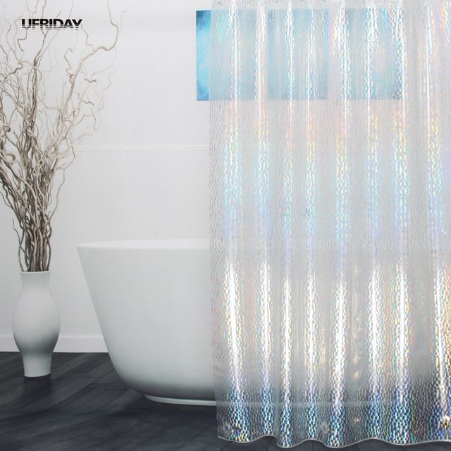UFRIDAY 3D Colorful Effect Water Cube Shower Curtain Dazzling Crystal Diamond Waterproof EVA Plastic