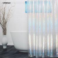 UFRIDAY 3D Colorful Effect Water Cube Shower Curtain Dazzling Crystal Diamond Waterproof EVA Plastic Shower Curtain Bath Cortina