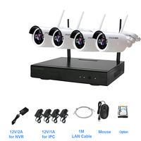 4CH CCTV System Wireless NVR 2 0MP IR Outdoor P2P Wifi IP CCTV Security Camera System