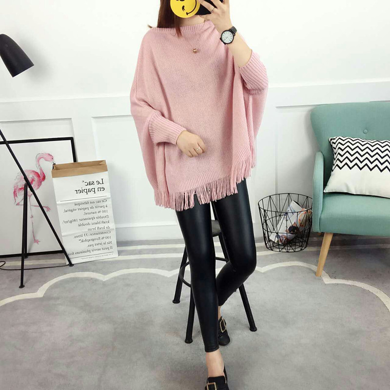 New Autumn Gray Pullovers And Sweaters Loose Tassel Soft Shawl Poncho Women Slash Neck Bat Long Sleeve Pullover Sweater Shawl 5