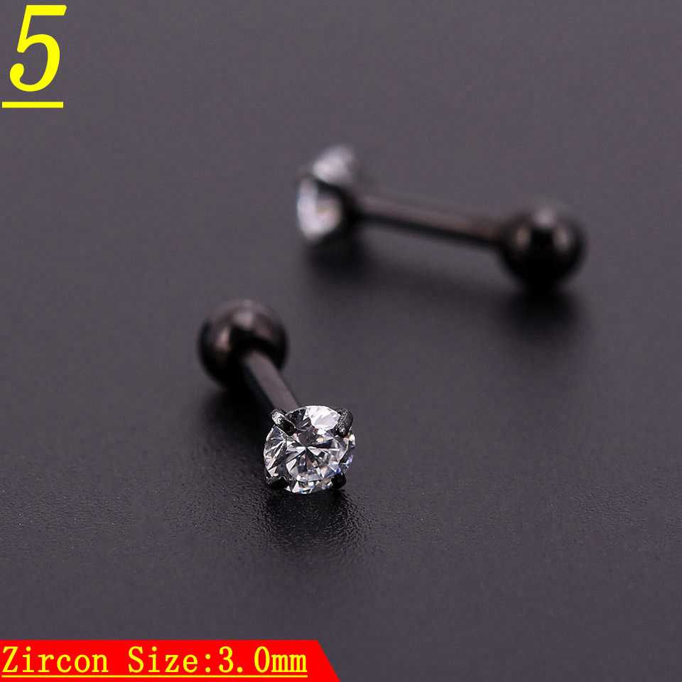 5pcs Black Zircon Crystal Heart Round Ball Tongue Lip Bar Ring Stainless Steel Barbell Ear Stud Body Piercing Jewelry