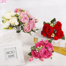 QIFU Peony Artificial Flowers Bouquet For Wedding Party Silk Peonies Fake Home Decorations
