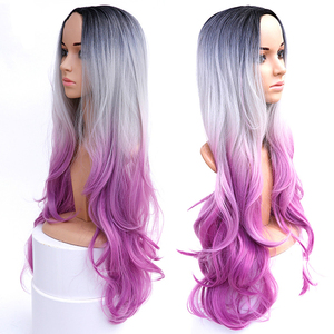 Long Wavy Ombre Grey Pink Purp