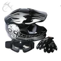 DOT Jeugd Kids ATV Motocross Crossmotor Zwarte Schedel Helm w/Goggles + Handschoenen Sml