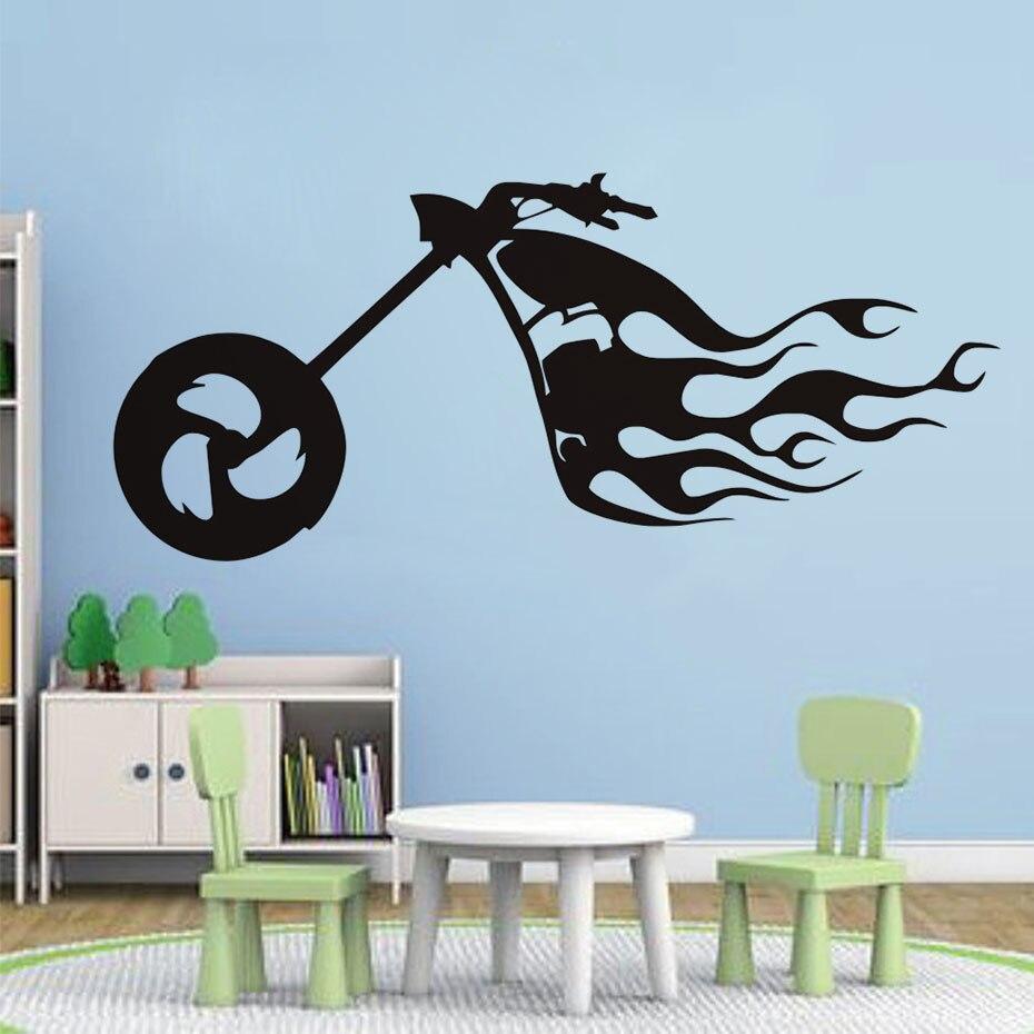 Free Shipping Creative Flaming Fire Bike Wall Sticker Home Decor ...