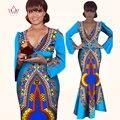 Invierno vestido Africano Bazin riche tela Cera Dashiki Vestido Colorido Vestido de La Manera de Partido Atractivo de Las Mujeres de Manga Larga Vestidos WY827
