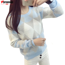 Brand Woman Sweater Pullover 2016 Autumn Winter Fashion Casual O-Neck Long sleeve Argyle Candy Pullovers Pull Femme Sweter Mujer