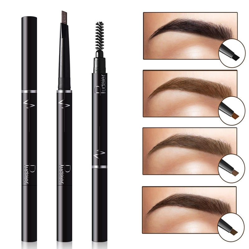 Pudaier Natural Double-end Long Lasting Pigments Makeup Eyebrow Pencils Easy to Wear Waterproof Black Brown Color Eye Brow Pen