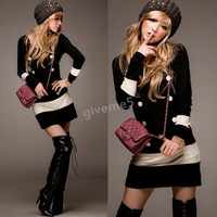Hot Fashion Women S Black White Splicing Colour Slim Fit Long Sleeves Sweater Bodycon Strench Elastic