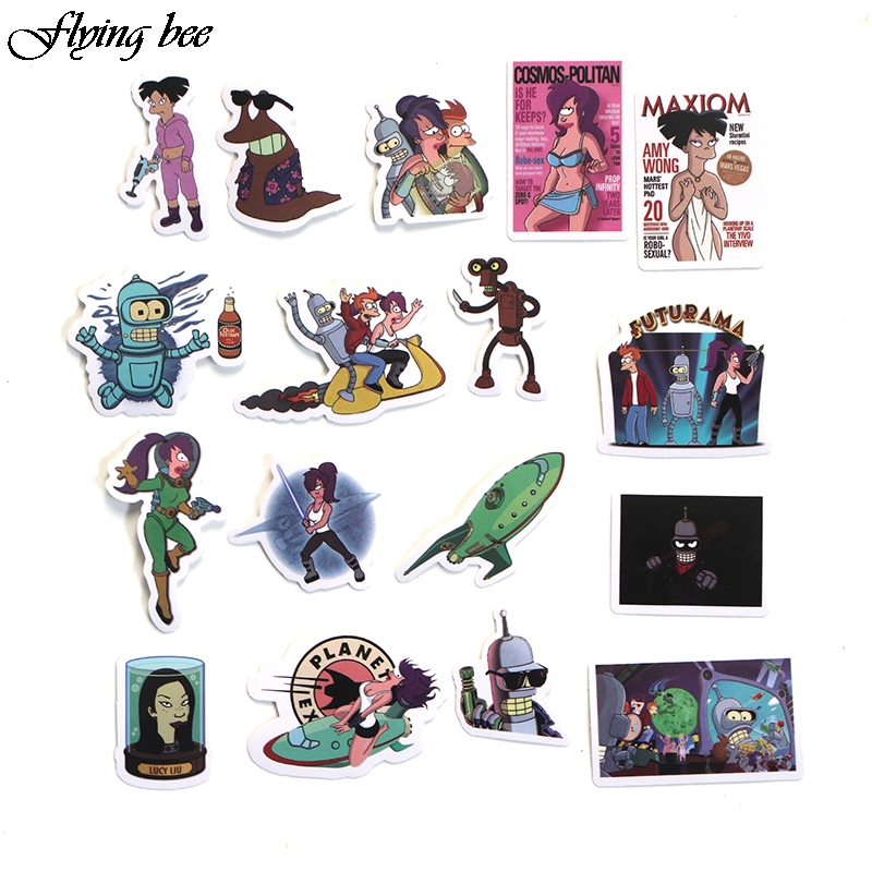 Image 4 - Flyingbee 67 pcs Futurama Sticker Anime Stickers for kids DIY Luggage Laptop Skateboard Car Motorcycle Bicycle Stickers X0007-in Stickers from Consumer Electronics