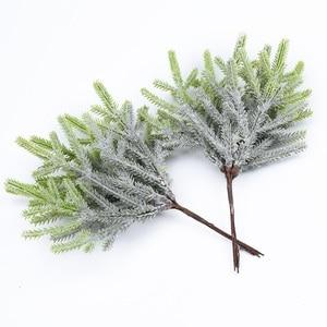 Image 1 - 6 pcs צמחים מלאכותיים מזויף אורן אגרטלים חג המולד קישוטים לבית חתונה diy מתנות תיבת זר רעיונות פלסטיק פרחים