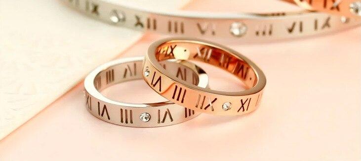 Ювелирные изделия элегантный темперамент выдалбливать повезло римские цифры цвета розового золота покрытие Titanium стальное кольцо ...