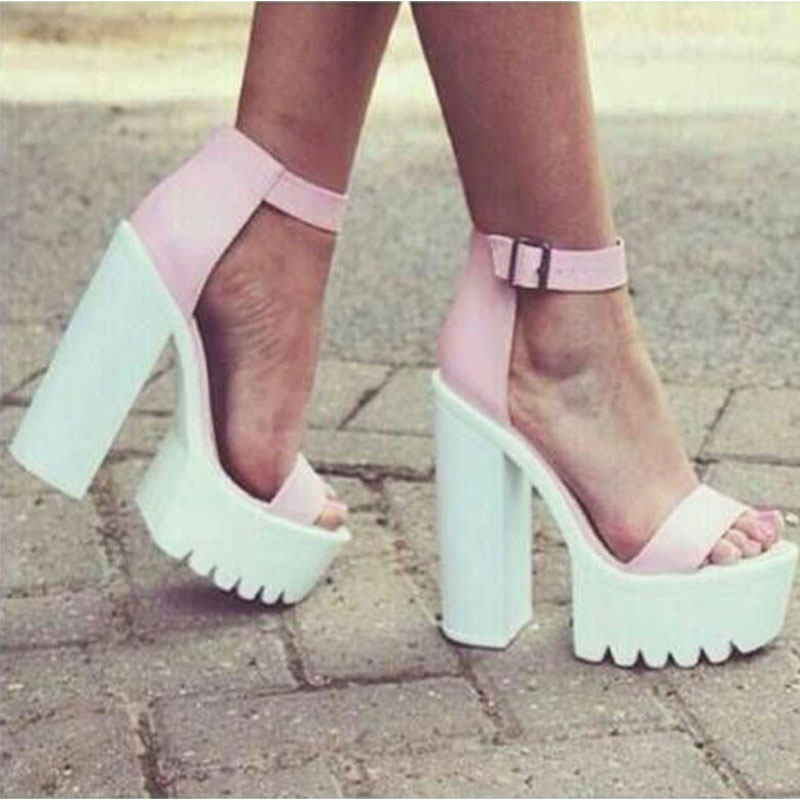 Summer Platform Woman Peep toe Instep Covered Chunky High Heel Real Leather Sandals Women Ankle Strap Antiskid Sole Sandal Shoes abnormal ankle strap folk multi colored catwalk colourful sandal round toe chunky peep pumps pom high quality designer shoe heel