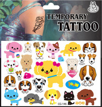 Cute lovely cartoon cat dog pet tattoo stickers 4pcs animals game toy girls boys child party decoration birthday accessory anime
