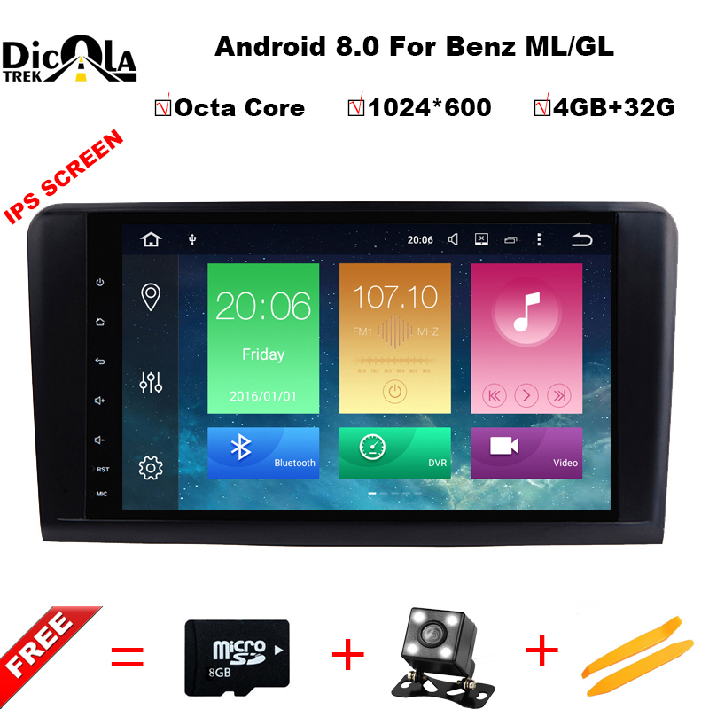 Octa Core 9''Car Android 8.0 Car DVD GPS Player For Mercedes Benz ML W164 W300 ML350 ML450 ML500 GL X164 G320 GL350 GL450 GL500 цена