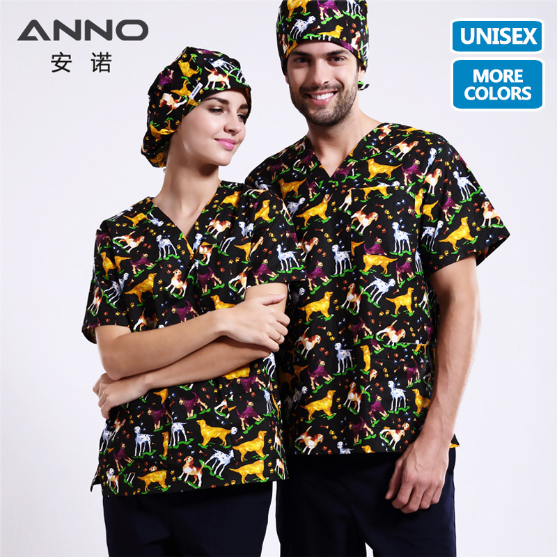 ANNO 15 Colors 5XL Cartoon Medical Scrubs Set Nursing Uniforms Medical Clothing Dental Clinical Nursing Scrubs Women Men Clothes