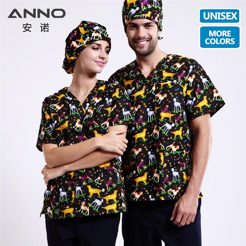 ANNO 15 Colors 5XL Cartoon Medical Scrubs Set Nursing Uniforms Medical Clothing Dental Clinical Nursing Scrubs Women Men Clothes