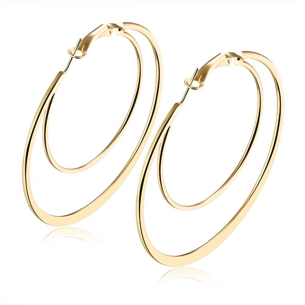 New Fashion White/Gold Color Women's Earrings Multiple Sizes Double Hoop Earrings Alloy Hyperbole Jewelry Gift NO.QLEH002