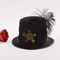 Vintage Steampunk Fedora Gear Lace Top Hat Gothic Victorian Unisex Party Black Hat