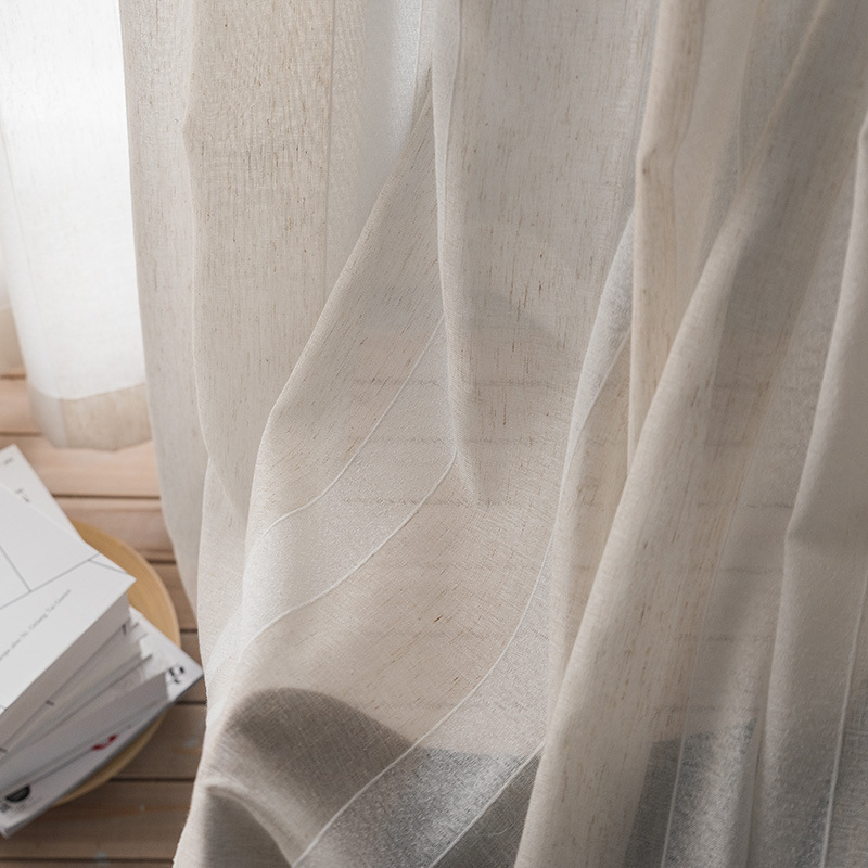 Fashion Stripe Rustic Curtain Yarn Bedroom Living Room: Single Panels Striped Tulle Curtains For Living Room
