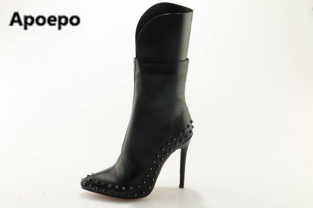 Apoepo brand 2017 autumn winter women boots rivet high heels boots mid-calf ladies shoes pointed toe women shoes big size 42 czrbt geniune cow patent leather front zipper women high heels 8cm boots ladies brand style mid calf shoes women 100% handmade