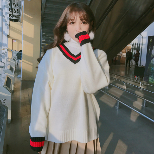 Cute V-Neck Academy Style Sweaters
