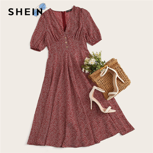 Image 5 - SHEIN Button Front Allover Print V Neck Dress Women 2019 Posh Summer Burgundy A Line Short Sleeve Fit and Flare Dresses